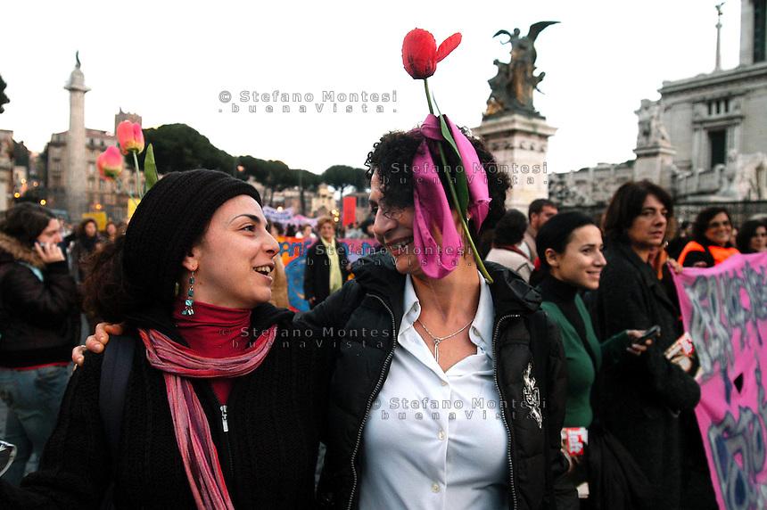 Roma 24 Novembre 2007.Manifestazione  nazionale delle donne per le donne contro la violenza maschile .Rome November 24, 2007.National demonstration of women for women against male violence..