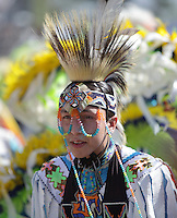 SAN BERNARDINO, CALIFORNIA - OCTOBER 13: The San Manuel Band of Indians hold their annual Pow Wow on October 13, 2012 in San Bernardino. Dances include the Grass, Chicken and Fancy dances.