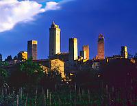 """San Gimignano Towers at Dawn, 13th Century, San Gimignano """"City of Beautiful Towers"""", Tuscany Region, Italy"""