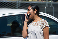 NWA Democrat-Gazette/ANTHONY REYES @NWATONYR<br /> Apoorva Krovvidi, 17, talks to her parents Tuesday, May 16, 2017 after she won a 2016 Nissan Versa from McLarty Daniel in their car giveaway at Tiger Stadium in Bentonville. The dealership gave a car to a student in their &quot;Attendance is the Key&quot; initiative at Bentonville, Bentonville West, Rogers and Rogers Heritage high schools. The Bentonville student had to meet attendance requirements to earn entries to the contest. The entries were pooled, then ten names were drawn with each person getting a key to try on the car.