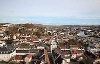 View over the town of Chateau-Thierry with its medieval castle on the left and the river Marne on the right, Aisne, Picardy, France. Picture by Manuel Cohen