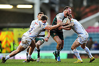 Lachlan McCaffrey of Leicester Tigers takes on the Exeter Chiefs defence. Aviva Premiership match, between Leicester Tigers and Exeter Chiefs on March 6, 2016 at Welford Road in Leicester, England. Photo by: Patrick Khachfe / JMP