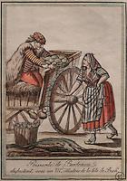 Fishmonger from Bordeaux arguing with an oyster seller, by Jacques Grasset de Saint Sauveur, 1757-1810, from the 'Gens du Petit Peuple', late 18th century, in the Musee d'Aquitaine, Cours Pasteur, Bordeaux, Aquitaine, France. Picture by Manuel Cohen