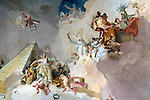 Europe, Spain, Madrid. Fresco at Palacio Real.