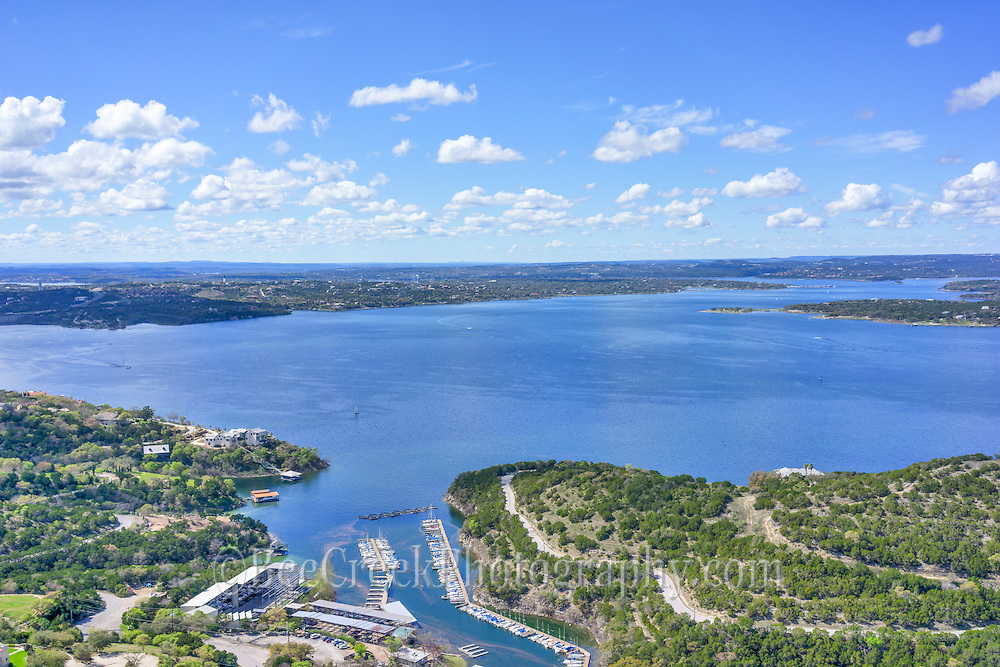 This is another aerial view showing the great Lake Travis finally full after many years.  You can see the marina, the dam, and lake as it meanders though the hill country landscape.  This is one of the favorite places for locals of Austin along with toursit to visit.   The lake is a favorite for boating, sailing swimming and any other water sports you can think of.