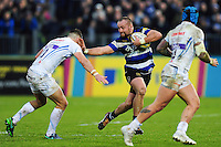 Tom Dunn of Bath Rugby fends Ollie Devoto of Exeter Chiefs. Aviva Premiership match, between Bath Rugby and Exeter Chiefs on December 31, 2016 at the Recreation Ground in Bath, England. Photo by: Patrick Khachfe / Onside Images