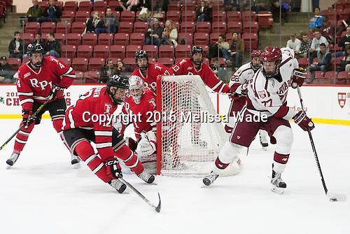 Tommy Grant (RPI - 4), Viktor Liljegren (RPI - 12), Jason Kasdorf (RPI - 33), Milos Bubela (RPI - 17), Jared Wilson (RPI - 13), Lewis Zerter-Gossage (Harvard - 77) - The Harvard University Crimson defeated the visiting Rensselaer Polytechnic Institute Engineers 5-2 in game 1 of their ECAC quarterfinal series on Friday, March 11, 2016, at Bright-Landry Hockey Center in Boston, Massachusetts.