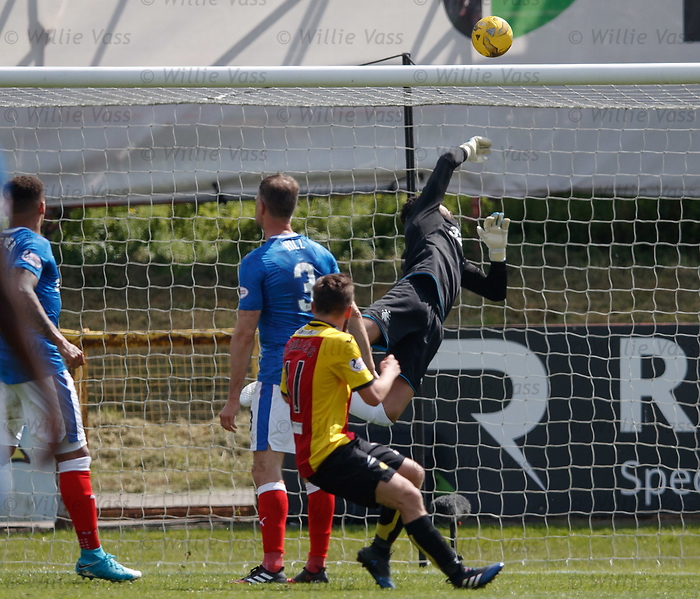 Wes Foderingham tips the ball over the bar from Steven Lawless