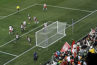 Play in front of the Santos goal during the second half of a friendly between Sanots FC and the New York Red Bulls at Red Bull Arena in Harrison, NJ, on March 20, 2010. The Red Bulls defeated Santos FC 3-1.