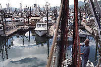 Salmon seiners and fishing boats in the harbor in Kodiak, Alaska