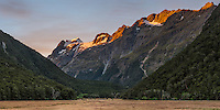 Sunset over Humboldt Mountains as seen from Routeburn Flats on Routeburn Track, Mt. Aspiring National Park, UNESCO World Heritage Area, Central Otago, New Zealand, NZ