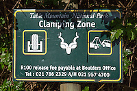 South Africa.  No Parking Warning Sign at Boulders Beach, near Simon's Town.