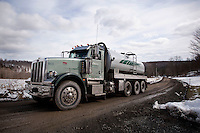 A water truck drives up a hill to a frac tank farm near South Montrose, PA, USA, 25 March 2011. The controversial hydraulic fracturing - or fracking - process of extracting for natural gas requires large quantities of water.