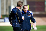 St Johnstone v Kilmarnock....02.04.11 .Caretaker Kilmarnock manager Kenny Shiels is wished good luck by Billy Thomson.Picture by Graeme Hart..Copyright Perthshire Picture Agency.Tel: 01738 623350  Mobile: 07990 594431
