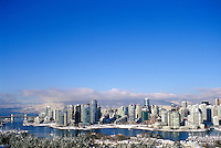 Vancouver, BC, British Columbia, Canada - City Skyline, False Creek, Yaletown Highrise Buildings, North Shore Mountains (Coast Mountains), Winter