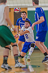 22 February 2015: Yeshiva University Maccabee Libero Mishael Miller (22), a Senior from Chicago, IL, digs as Outside Hitter Kolya Miller (15), a Junior from Chicago, IL backs up, during action against the Sage College Gators at the Kahl Gymnasium, in Albany, NY. The Maccabees fell to the Gators 3-0 in NCAA Division III Men's Volleyball Skyline play. Mandatory Credit: Ed Wolfstein Photo *** RAW (NEF) Image File Available ***