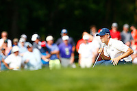 Jordan Spieth lines up a putt on the 16th green during the 2016 U.S. Open in Oakmont, Pennsylvania on June 18, 2016. (Photo by Jared Wickerham / DKPS)