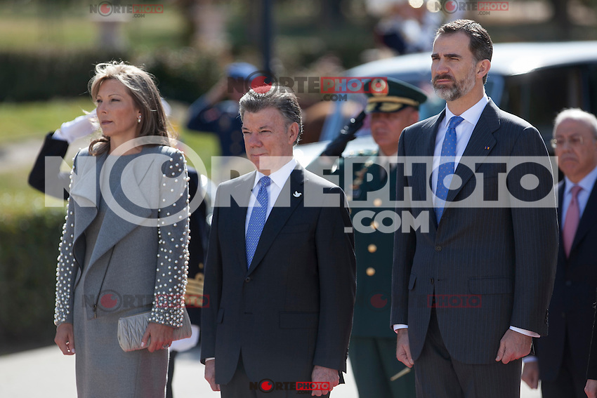 King Felipe VI of Spain during the Colombia´s President Juan Manuel Santos and his wife Maria Clemencia Rodriguez welcome ceremony at the Pardo Palace in Madrid, Spain. March 01, 2015. (ALTERPHOTOS/Victor Blanco) /NORTEphoto.com