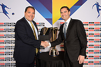 Santa Clara, CA - Tuesday, March 07, 2017: CONCACAF President, Victor Montagliani, Dave Kaval during the unveiling of the CONCACAF 2017 Gold Cup Groups & Schedule at Levi's Stadium.