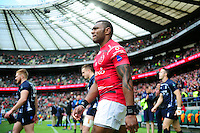 LCpl Semesa Rokoduguni of the British Army walks out onto the pitch. Babcock Inter-Services Championship match between the British Army and the Royal Navy on April 30, 2016 at Twickenham Stadium in London, England. Photo by: Patrick Khachfe / Onside Images