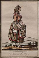 Woman from Agen in traditional dress, by Jacques Grasset de Saint Sauveur, 1757-1810, from the 'Gens du Petit Peuple', late 18th century, in the Musee d'Aquitaine, Cours Pasteur, Bordeaux, Aquitaine, France. Picture by Manuel Cohen