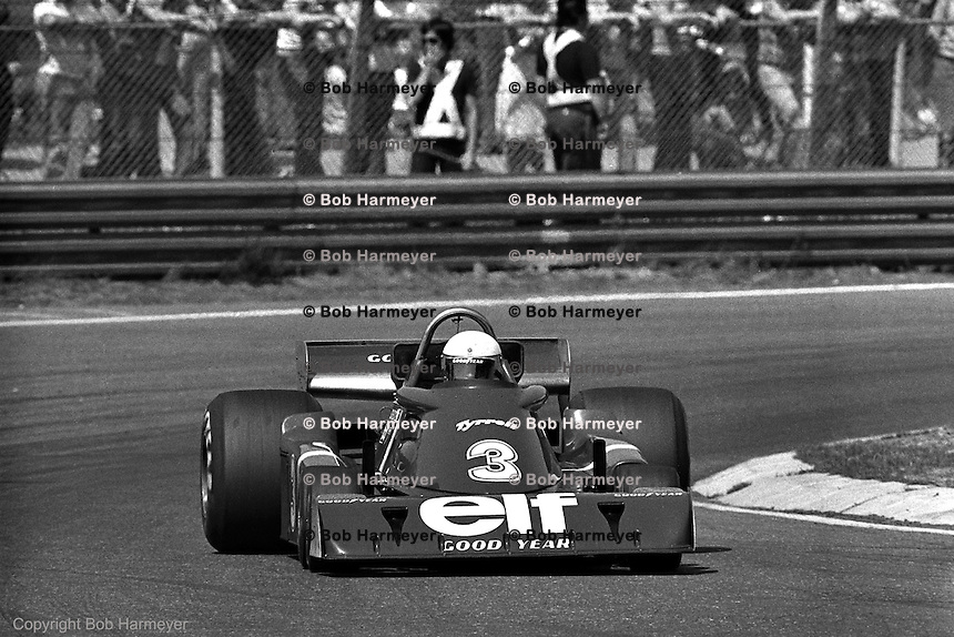 Jody Scheckter drives the Tyrrell P34 six-wheel Formula 1 car during the 1976 Grand Prix of Belgium at Zolder.