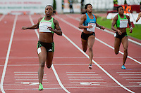 Veronica Campbell-Brown (C) from Jamaica competes in 200m women's run she won with 22.26 during the Istvan Gyulai Memorial Hungarian Athletics Grand Prix 2011, in the Ferenc Puskas Stadium in Budapest, Hungary on July 30, 2011. ATTILA VOLGYI