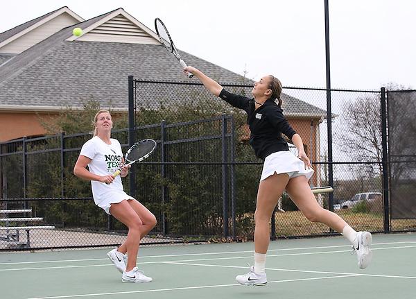 DENTON, TX - APRIL 5: Kseniya Bardabush and Franziska Sprinkmeyer at Waranch Tennis Center in Denton on April 5, 2014 in Denton, Texas. Photo by Rick Yeatts