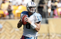 PITTSBURGH, PA - OCTOBER 09: Matt Hasselbeck #8 of the Tennessee Titans drops back to pass against the Pittsburgh Steelers during the game on October 9, 2011 at Heinz Field in Pittsburgh, Pennsylvania.  (Photo by Jared Wickerham/Getty Images)