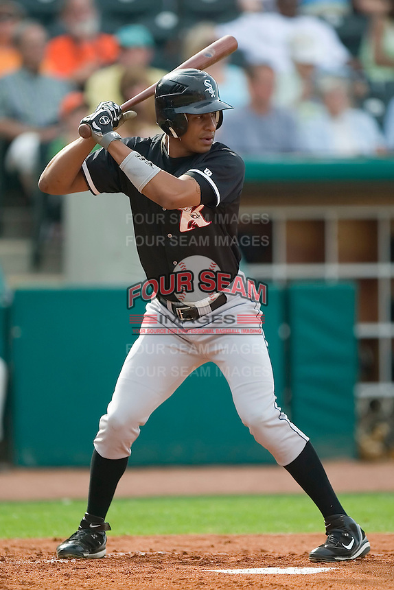 Kannapolis right fielder Anderson Gomes (5) at bat versus Greensboro at First Horizon Park in Greensboro, NC, Sunday, May 27, 2007.  The Intimidators defeated the Grasshoppers 6-5.