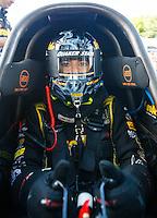Jun 10, 2016; Englishtown, NJ, USA; NHRA top fuel driver Leah Pritchett during qualifying for the Summernationals at Old Bridge Township Raceway Park. Mandatory Credit: Mark J. Rebilas-USA TODAY Sports