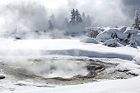 Upper Geyser Basin in snow, Yellowstone National Park, Winter, Wyoming, United States of America.