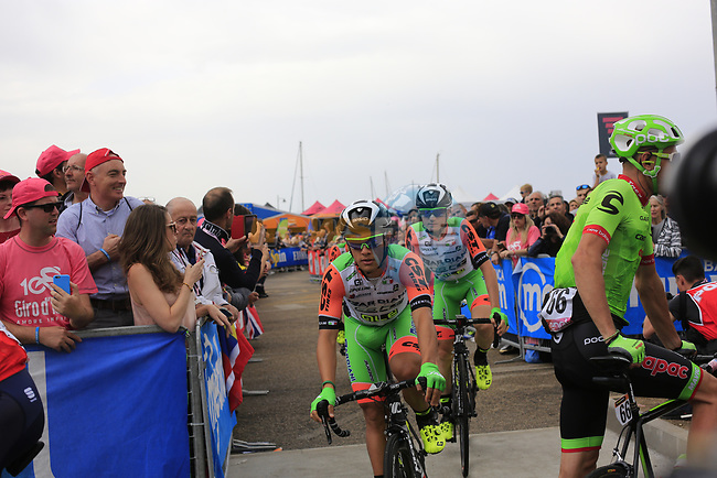 Bardiani CSF at sign on before Stage 2 of the 100th edition of the Giro d'Italia 2017, running 221km from Olbia to Tortoli, Sardinia, Italy. 6th May 2017.<br /> Picture: Ann Clarke   Cyclefile<br /> <br /> <br /> All photos usage must carry mandatory copyright credit (&copy; Cyclefile   Ann Clarke)