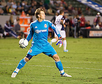 CARSON, CA - June 16, 2012: Chivas USA goalie Dan Kennedy (1) during the Chivas USA vs Real Salt Lake match at the Home Depot Center in Carson, California. Final score Real Salt Lake 3, Chivas USA 0.