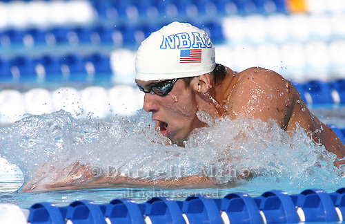 Jul 7, 2004; Long Beach, CA, USA - US Olympic Swimming Trials...Michael Phelps plows his way through the water setting a new world record time of 4:08.41 during the finals of the 400 IM at the US Olympic Trials in Long Beach, CA...photo by Darrell Miho for Sports Illustrated for Kids.