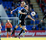 St Johnstone v Dundee....11.04.15   SPFL<br /> Chris Millar gets above Jim McAlister<br /> Picture by Graeme Hart.<br /> Copyright Perthshire Picture Agency<br /> Tel: 01738 623350  Mobile: 07990 594431