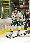 29 December 2014: University of Vermont Catamount Defenseman Nick Luukko, a Senior from West Chester, PA, in first period action against the Providence College Friars, during the deciding game of the annual TD Bank-Sheraton Catamount Cup Tournament at Gutterson Fieldhouse in Burlington, Vermont. The Friars shut out the Catamounts 3-0 to win the 2014 Cup. Mandatory Credit: Ed Wolfstein Photo *** RAW (NEF) Image File Available ***