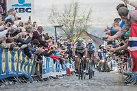 Peter Sagan (SVK/Bora-Hansgrohe)<br /> up the Oude Kwaremont for the 3rd &amp; final time<br /> <br /> 101th Ronde Van Vlaanderen 2017 (1.UWT)<br /> 1day race: Antwerp &rsaquo; Oudenaarde - BEL (260km)