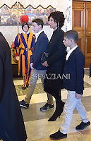 Agnese Landini wife  Italian Premier Matteo Renzi.Pope Francis  meets Italian Premier Matteo Renzi and his family during a private audience at the Vatican, on December 13, 2014.