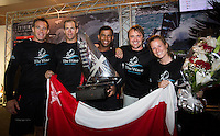 The Wave Muscat celebrate after winning the 2012 Extreme Sailing Series, skippered by Leigh McMillan (GBR), with tactician Ed Smyth (NZL), mainsail trim Pete Greenhalgh (GBR), headsail trim Hannah Mills (GBR) and bowman Hashim Al Rashdi (OMA)...Credit: Lloyd Images.