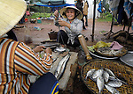 Nguyen Thi Xoan, who lost her leg to unexploded ordnance remaining from the U.S. war against Vietnam, sells fish in a market in Quang Phu.