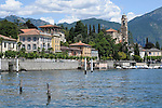 View of Tremezzo from the water, a town on Lake Como, Italy.