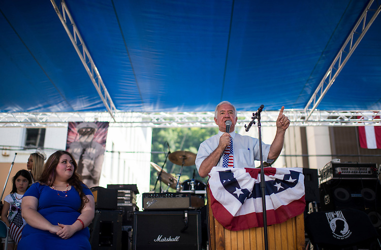 UNITED STATES - JULY 5: Rep. Nick Rahall, D-W.Va., speaks to the crowd at the West Virginia Freedom Festival in downtown Logan, W. Va., on July 5, 2014. (Photo By Bill Clark/CQ Roll Call)
