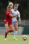 16 September 2016: NC State's Kristina Schuster (GER) (left) and North Carolina's Dorian Bailey (right). The University of North Carolina Tar Heels hosted the North Carolina State University Wolfpack in a 2016 NCAA Division I Women's Soccer match. NC State won the game 1-0.