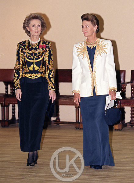 King Harald, and Queen Sonja of Norway, State Visit to Latvia, attend a concert in Riga, and a Dinner at Riga Palace with The President, and his wife..With her lady in Waiting.