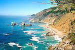 View from the Waterfall Trail of Julia Pfeiffer Burns State Park at Highway 1 near  Carmel-by-the-Sea on the Big Sur coast, California, USA