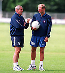 Walter Smith at Rangers training with new Danish coach Tommy Moller Neilsen