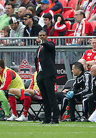 Toronto FC head coach Aron Winter seems to be pointing a finger at his players during an MLS game between the Philadelphia Union and the Toronto FC at BMO Field in Toronto on May 28, 2011..The Philadelphia Union won 6-2..