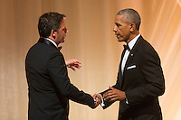 US President Barack Obama (R) greets Italian Prime Minister Matteo Renzi (L) after offering a toast during a state dinner on the South Lawn of the White House in Washington DC, USA, 18 October 2016. President Obama hosts his final state dinner, featuring celebrity chef Mario Batali and singer Gwen Stefani performing after dinner. <br /> Credit: Michael Reynolds / Pool via CNP / MediaPunch