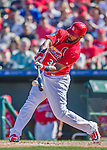6 March 2016: St. Louis Cardinals outfielder Carlos Peguero connects for a double in the 7th inning of a Spring Training pre-season game against the Washington Nationals at Roger Dean Stadium in Jupiter, Florida. The Nationals defeated the Cardinals 5-2 in Grapefruit League play. Mandatory Credit: Ed Wolfstein Photo *** RAW (NEF) Image File Available ***